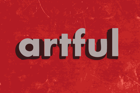 artful: artful vector word on red concrete wall