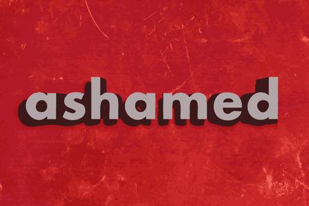 ashamed: ashamed vector word on red concrete wall Illustration
