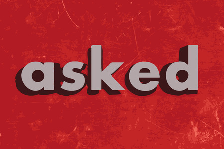 asked: asked vector word on red concrete wall