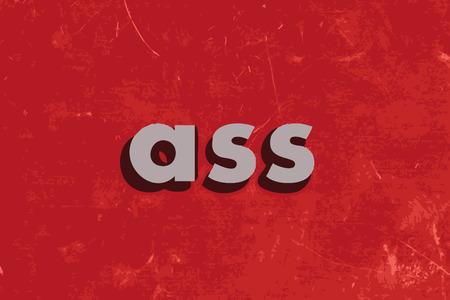 ass: ass vector word on red concrete wall