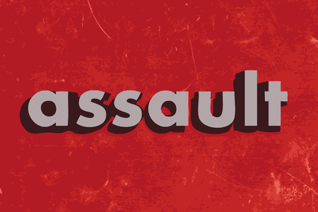 assault: assault vector word on red concrete wall Illustration