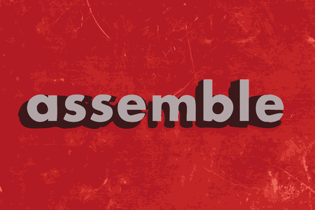 assemble: assemble vector word on red concrete wall