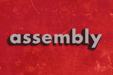 montaje: palabra vector de montaje en la pared roja de hormig�n