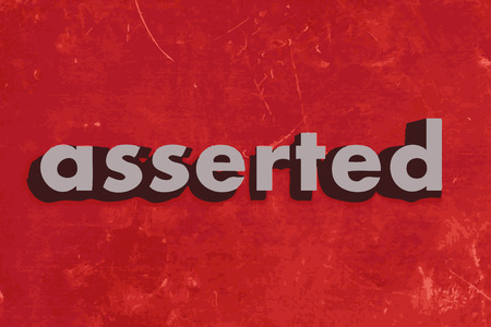 asserted: asserted vector word on red concrete wall Illustration