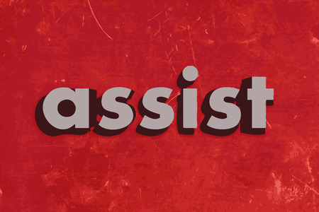 assist: assist vector word on red concrete wall