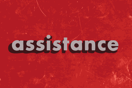 and assistance: assistance vector word on red concrete wall