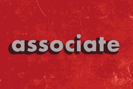 associate: associate vector word on red concrete wall Illustration