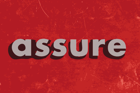 assure: assure vector word on red concrete wall Illustration