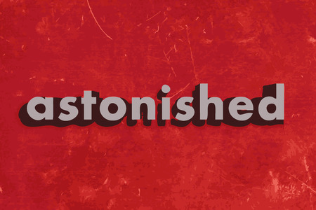 astonished: astonished vector word on red concrete wall