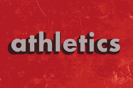 athletics: athletics vector word on red concrete wall