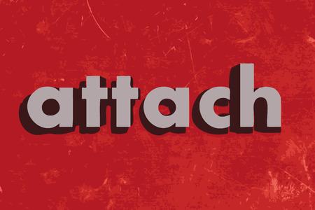 attach: attach vector word on red concrete wall Illustration