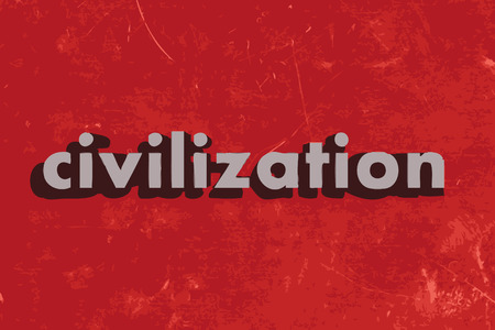 civilization vector word on red concrete wall Illustration