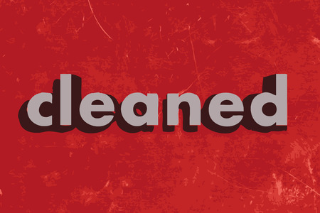 cleaned: cleaned vector word on red concrete wall
