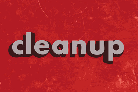 cleanup: cleanup vector word on red concrete wall