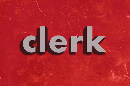 clerk vector word on red concrete wall