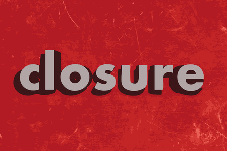 closure: closure vector word on red concrete wall Illustration