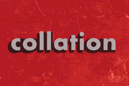 collation: collation vector word on red concrete wall Illustration