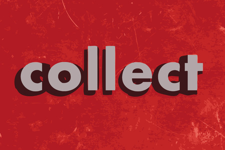 collect: collect vector word on red concrete wall Illustration