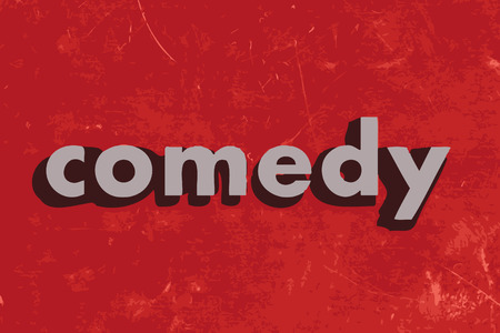 comedy: comedy vector word on red concrete wall