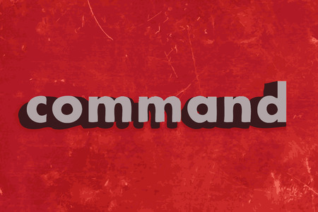command: command vector word on red concrete wall