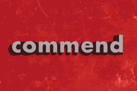 commend: commend vector word on red concrete wall Illustration