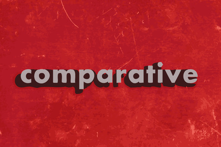 comparative: comparative vector word on red concrete wall
