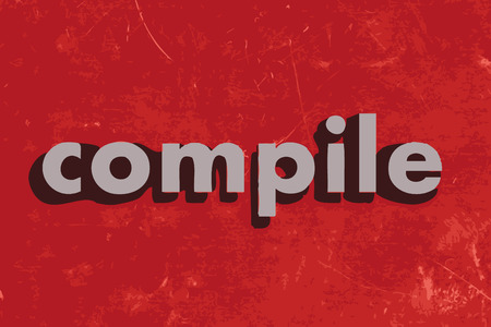 compile: compile vector word on red concrete wall Illustration