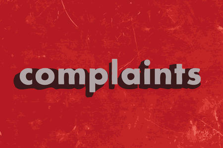 complaints vector word on red concrete wall