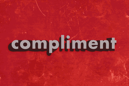 compliment: compliment vector word on red concrete wall