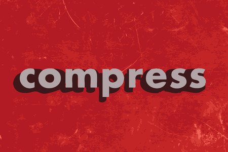 compress: compress vector word on red concrete wall Illustration