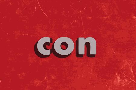 con: con vector word on red concrete wall