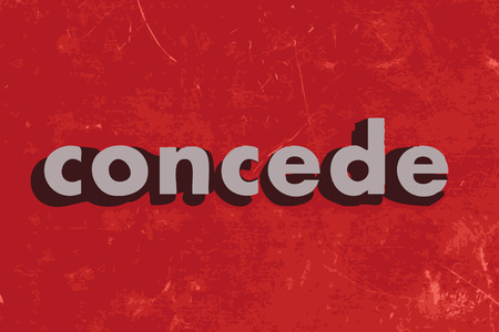 concede: concede vector word on red concrete wall Illustration