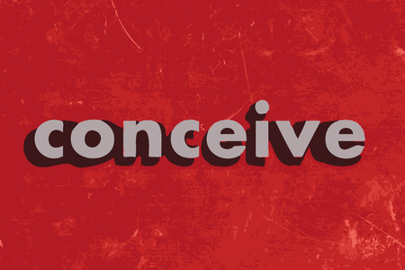 conceive: conceive vector word on red concrete wall Illustration