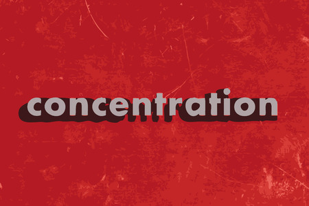 concentration vector word on red concrete wall