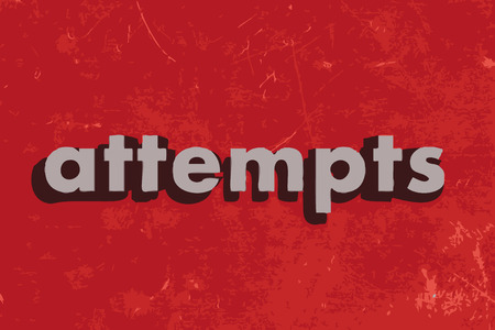 attempts: attempts vector word on red concrete wall