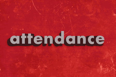 attendance vector word on red concrete wall