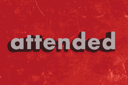 attended: attended vector word on red concrete wall