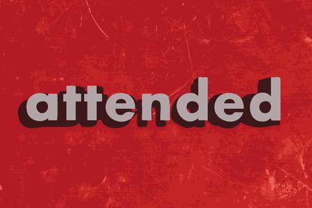 attended: palabra vector asistido en rojo muro de hormig�n Vectores