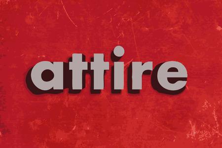 attire: attire vector word on red concrete wall