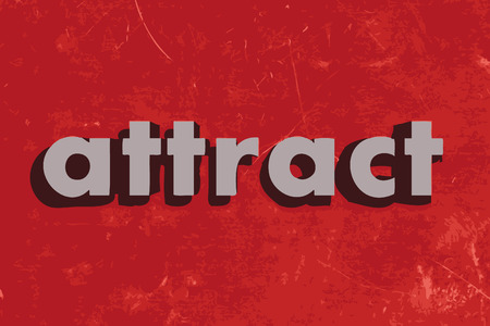 attract: attract vector word on red concrete wall