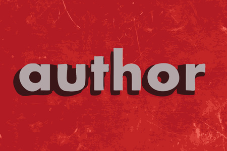 author: author vector word on red concrete wall