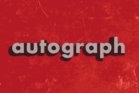 autograph: autograph vector word on red concrete wall Illustration