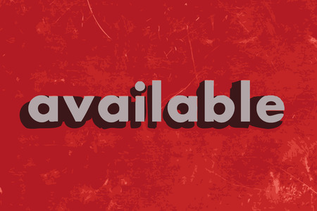 available: available vector word on red concrete wall