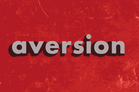 aversion: aversion vector word on red concrete wall Illustration