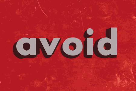 avoid: avoid vector word on red concrete wall