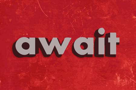 await: await vector word on red concrete wall