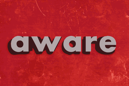 aware: aware vector word on red concrete wall Illustration