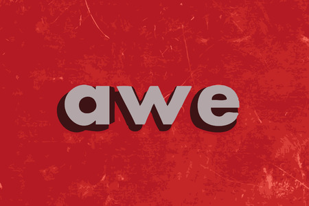 awe: awe vector word on red concrete wall Illustration