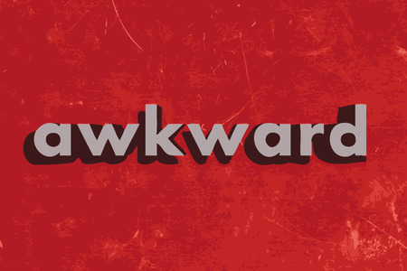 awkward: awkward vector word on red concrete wall