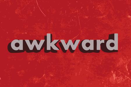 awkward: palabra vector torpe en rojo muro de hormig�n